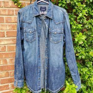 True religion Ryan western denim blue shirt M